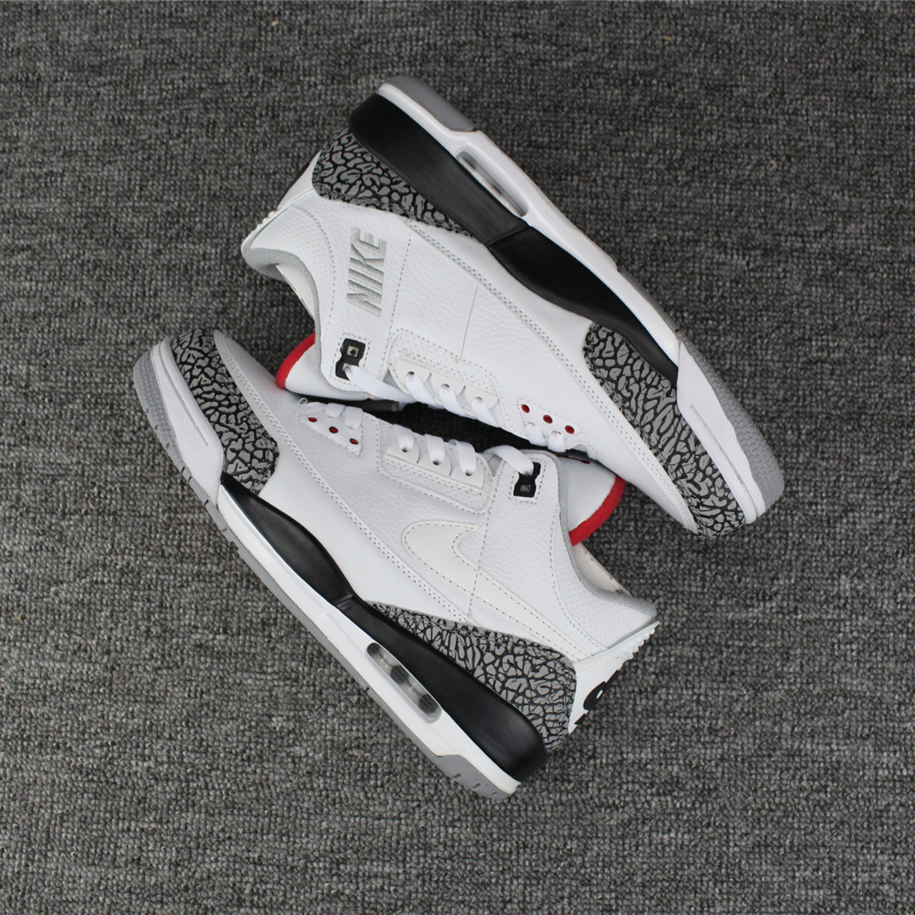2018 Jordan 3 Retro White Cement Grey Black White Swoosh